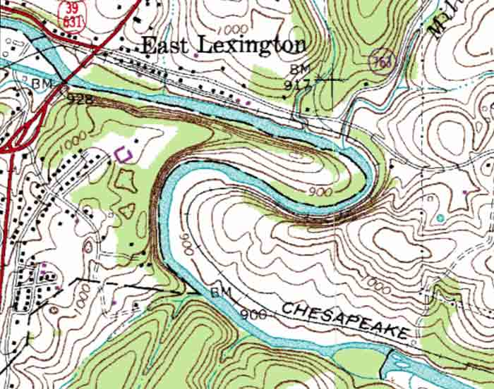 topographic map with river River Meander