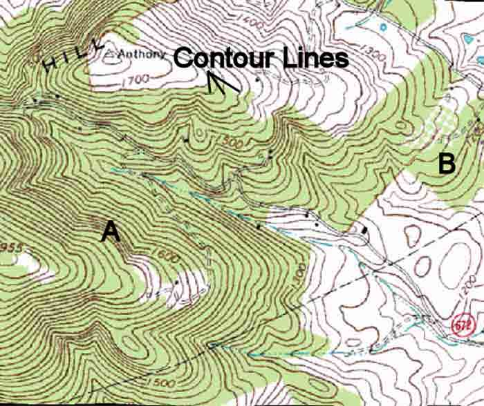 Topographic Contours on